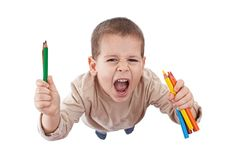Happy boy with color pencils Stock Photo
