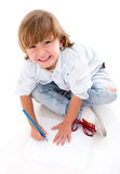 Happy boy coloring Stock Image