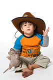 Happy boy in cowboy hat Stock Image