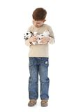 Happy boy with Dalmatian Stock Image