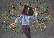 Happy boy dancing, tv face Stock Photos