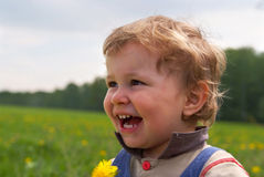 Happy boy with dandelion Stock Images