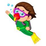 Happy boy diving. Illustration of happy boy diving stock illustration