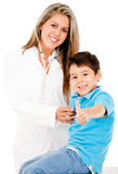 Happy boy at the doctor Stock Images