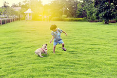 Happy boy with dog. Happy Asian boy playing with his dog in garden Stock Images