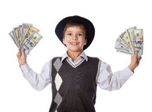 Happy boy with dollars in hands Stock Photo