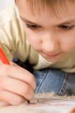 Happy Boy Drawing Stock Image