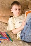 Happy Boy Drawing Stock Photo