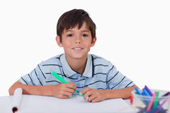 Happy boy drawing Royalty Free Stock Photo