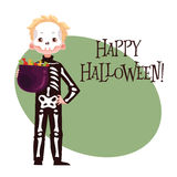 Happy boy dressed as skeleton for Halloween Stock Photography