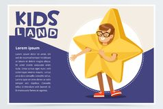 Happy boy dressed as star, cute kid in Christmas costume for masquerade, kids land banner flat vector element for royalty free illustration