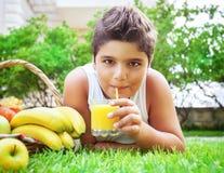 Happy boy drinking juice Stock Images