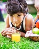 Happy boy drinking juice Royalty Free Stock Photos