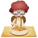 A happy boy eating pizza. Illustration of a happy boy eating pizza on a white background Royalty Free Stock Photo