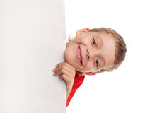 Happy boy with the empty blank Royalty Free Stock Images