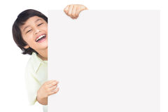 Happy boy with the empty blank Stock Photography