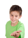 Happy boy with empty hand. Isolated in white royalty free stock photos