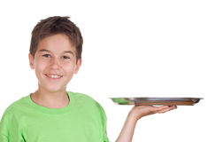 Happy boy with empty tray. In his hand-isolated on white royalty free stock images