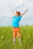 Happy boy enjoy on the meadow Stock Photos