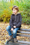 Happy boy enjoying in fall season Royalty Free Stock Image