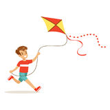 Happy boy enjoying flying kite, kids outdoor activity colorful character vector Illustration Royalty Free Stock Image