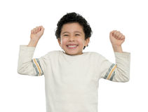 Happy Boy Excited With Arms Up. Happy Boy Excited With His Arms Up Isolated on White Stock Images