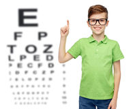 Happy boy in eyeglasses pointing finger up Stock Image