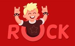 Happy boy, fan of metal, with raised hands. Vector concept illustration in modern flat style. Happy boy character, with raised hands. Smiling, happy punk rocker Royalty Free Stock Photography
