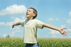 Happy Boy in field Stock Photo