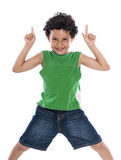 Happy Boy with Fingers Pointing Up Stock Photo