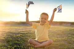Happy boy with flags of Australia Royalty Free Stock Photo
