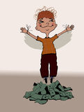The happy boy flying up over a heap of money Stock Image