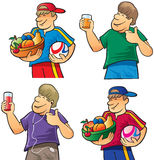 Happy boy with fruits and juice Stock Images