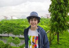 Happy boy is at the Garden by the bay ,Singapore Royalty Free Stock Images