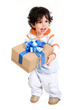 Happy boy with a gift Stock Photos