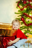 Happy boy with gift-box Royalty Free Stock Photography