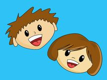 Happy Boy and Girl. With brown hair Royalty Free Stock Images