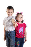Happy boy and the girl. Boy and girl on a white background Stock Photos