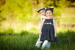 Happy boy and girl Stock Images