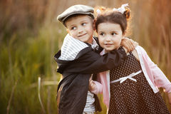Happy boy and girl royalty free stock photos