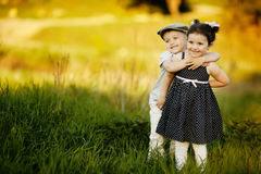Happy boy and girl Royalty Free Stock Photography