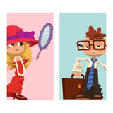 Happy boy and girl cards child young kids dressed like grown man and woman character vector illustration Stock Photo