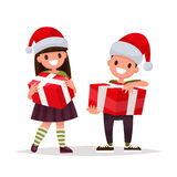 Happy boy and girl with Christmas gifts. Vector illustration of Stock Photography