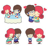 Happy boy and girl couple in many poses stock photos