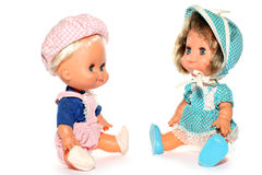 Happy boy and girl doll stock photo