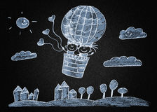 Happy boy and girl fly in big ballon. Blackboard or asphalt drawing Royalty Free Stock Images