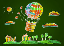 Happy boy and girl fly in big ballon. Royalty Free Stock Photography