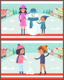 Happy Boy and Girl Going to Play Snowballs Snowman stock illustration