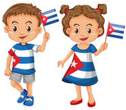 Happy boy and girl holding flag of Cuba. Illustration Royalty Free Stock Photo