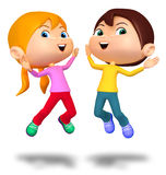 Happy Boy and Girl Jumping Up Stock Images
